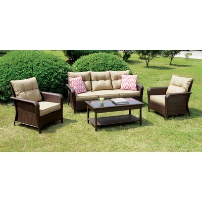 Hoeppner 4 Piece Deep Seating Group with Cushion