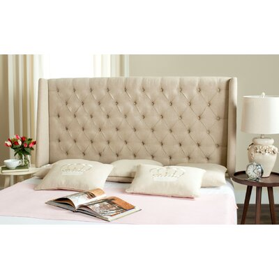 Trenton Upholstered Wingback Headboard Size: Full, Color: Navy, Upholstery: Linen