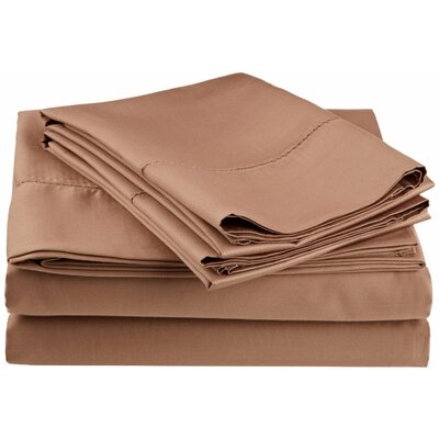 Freeburg 600 Thread Count Sheet Set Size: Twin XL, Color: Taupe