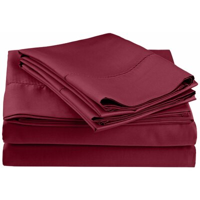 Freeburg 600 Thread Count Sheet Set Size: Twin, Color: Wine