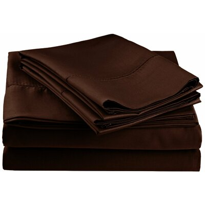 Freeburg 600 Thread Count Sheet Set Size: Full, Color: Chocolate