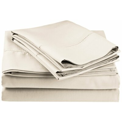 Freeburg 600 Thread Count Sheet Set Size: Twin, Color: Ivory