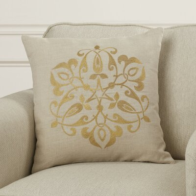 Burdette Throw Pillow Size: 18 H x 18 W x 4 D, Color: Gold/Light Gray