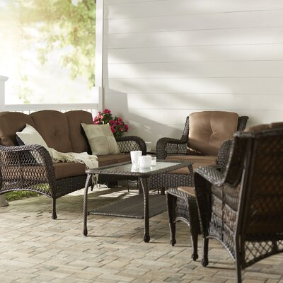 Herrin 6 Piece Wicker Seating Group with Cushions Fabric: Brown, Frame Finish: White