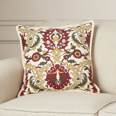 Coeur Down Throw Pillow Size: 18 H x 18 W x 4 D, Color: Gold/Burgundy/Olive/Black/Ivory