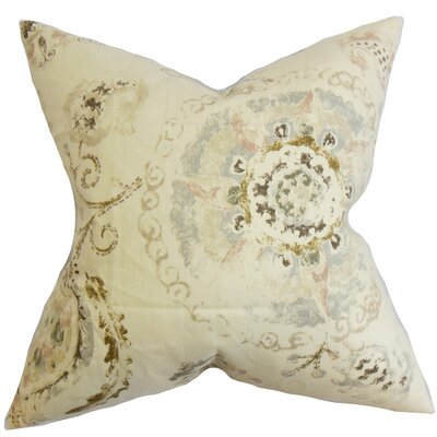 Haydenville Floral Linen Throw Pillow Cover Color: Brown