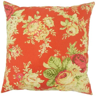 Haydenville Floral Linen Throw Pillow Cover Color: Blue