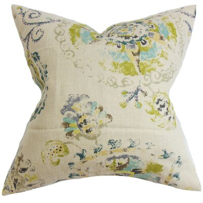 Haydenville Floral Linen Throw Pillow Cover Color: Turquoise