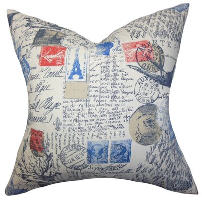Ginsberg Typography Cotton Throw Pillow Cover Color: Red