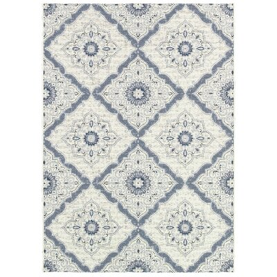 Ridgway Flat woven/Power Loom Ivory/Blue Indoor/Outdoor Area Rug Rug Size: Rectangle 53 x 76