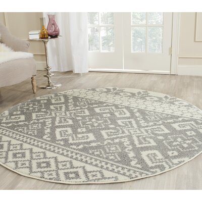 Allensby Ivory & Silver Area Rug Rug Size: Round 6