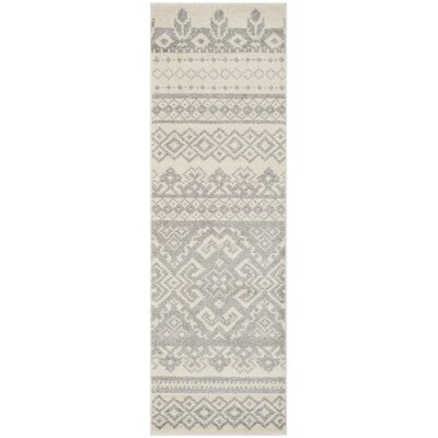 Allensby Ivory & Silver Area Rug Rug Size: Runner 26 x 22