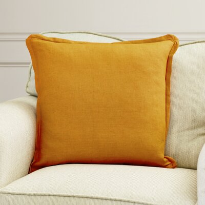 Matherne Linen Throw Pillow Size: 18, Color: Orange, Filler: Down