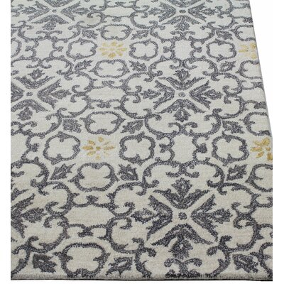 Danforth Hand-Tufted Ivory Area Rug Rug Size: 56 x 86
