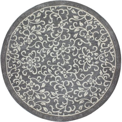 Danforth Hand-Tufted Grey Area Rug Rug Size: Round 8