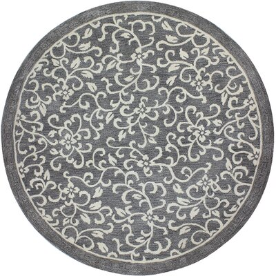 Danforth Hand-Tufted Grey Area Rug Rug Size: Round 6