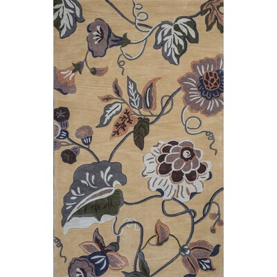 Alarice Hand-Tufted Gold Area Rug Rug Size: Rectangle 33 x 53