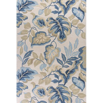 Alarice Hand-Tufted Ivory/Blue Area Rug Rug Size: Rectangle 5 x 76