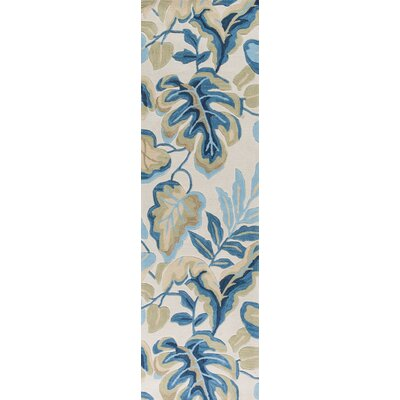 Summerset Hand-Tufted Ivory/Blue Area Rug Rug Size: Runner 23 x 76