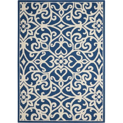 Hockenberry Hand-Woven Wool Navy/Ivory Area Rug Rug Size: Rectangle 5 x 7