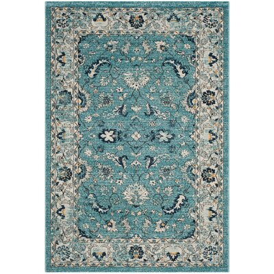 Bahr Turquoise/Beige Area Rug Rug Size: 51 x 76