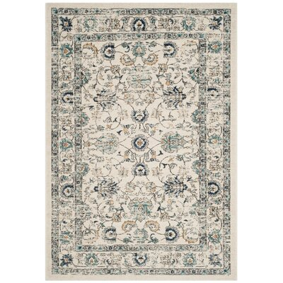 Bahr Beige/Blue Area Rug Rug Size: Rectangle 8 x 10