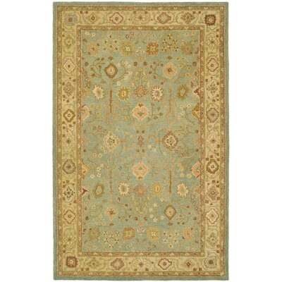 Setser Hand-Tufted Teal / Beige Area Rug
