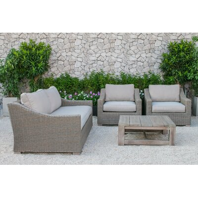 Mound Outdoor Polyester 4 Piece Deep Seating Group with Cushion