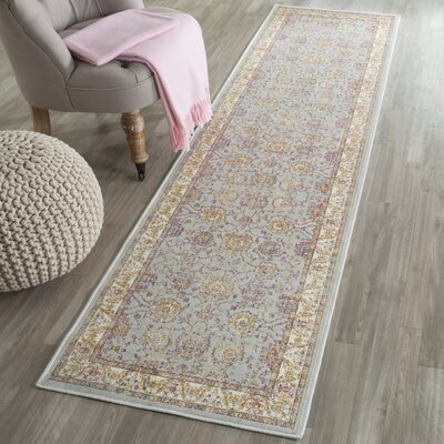 Enlow Silver/Ivory Area Rug Rug Size: Runner 21 x 8