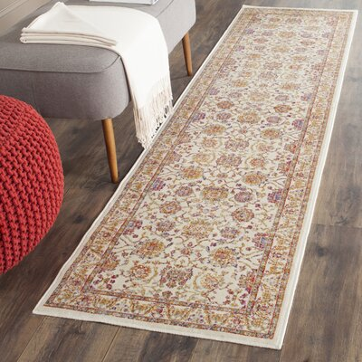 Enlow White/Brown Area Rug Rug Size: Runner 21 x 8