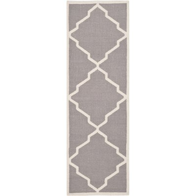 Brambach Hand-Woven Wool Grey/Ivory Area Rug Rug Size: Runner 26 x 6