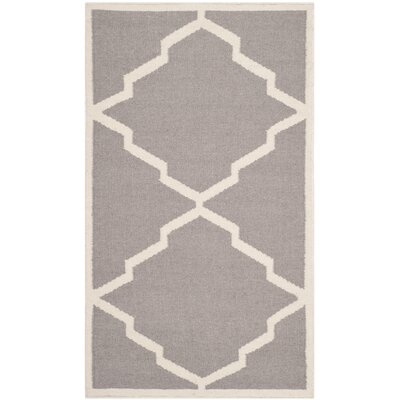Brambach Hand-Woven Wool Grey/Ivory Area Rug Rug Size: Rectangle 26 x 4