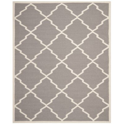 Brambach Hand-Woven Wool Grey/Ivory Area Rug Rug Size: Rectangle 8' x 10'