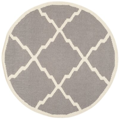 Brambach Hand-Woven Wool Grey/Ivory Area Rug Rug Size: Round 4