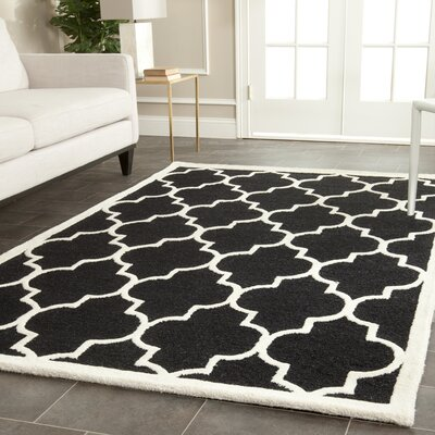 Parker Lane Hand-Tufted Wool Black/Ivory Area Rug Rug Size: Rectangle 26 x 4