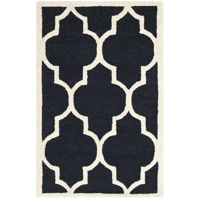 Parker Lane Hand-Tufted Black / Ivory Area Rug Rug Size: 9 x 12