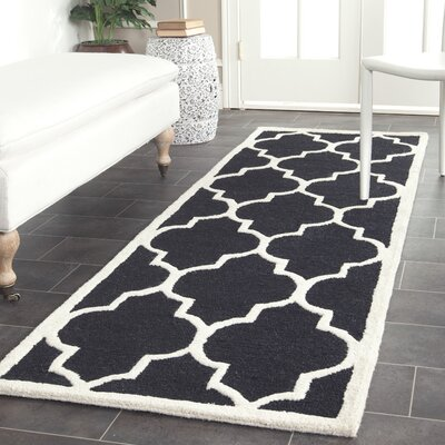 Parker Lane Hand-Tufted Black / Ivory Area Rug Rug Size: Runner 26 x 10