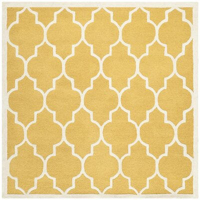 Parker Lane Hand-Tufted Gold / Ivory Area Rug Rug Size: Square 6