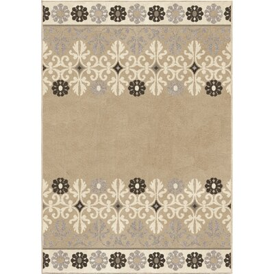 Plaines Beige/Brown Area Rug Rug Size: 53 x 76