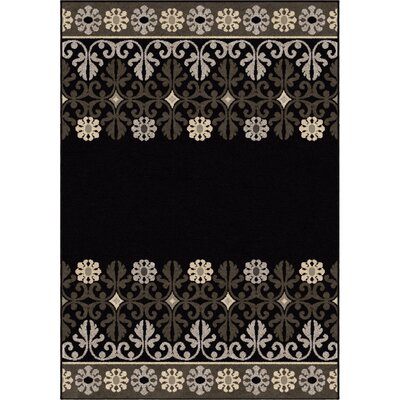 Plaines Black Area Rug Rug Size: 5'3 x 7'6