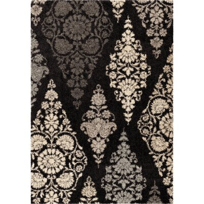 De Land Black Area Rug Rug Size: 53 x 76