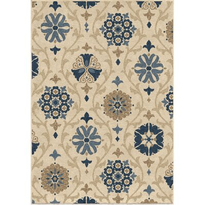 Dubuque Ivory/Blue Indoor/Outdoor Area Rug Rug Size: 78 x 1010