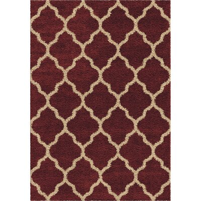 Creal Shag Red/Ivory Area Rug Rug Size: 53 x 76
