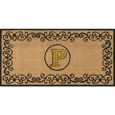 Cowden Monogrammed Outdoor Doormat Rug Size: 3 x 6, Letter: P