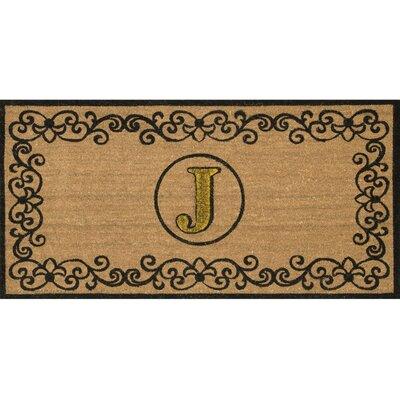 Cowden Monogrammed Outdoor Doormat Rug Size: 3 x 6, Letter: J