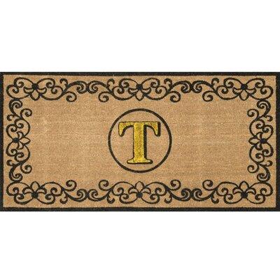 Cowden Monogrammed Outdoor Doormat Rug Size: 3 x 6, Letter: T