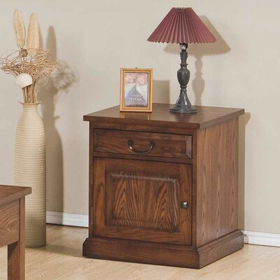 Schueller End Table With Storage Color: Medium Oak