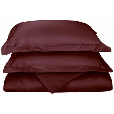 Freeburg Reversible Duvet Cover Set Color: Wine, Size: Twin