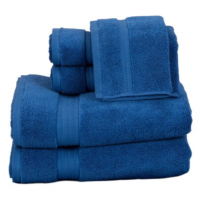 Morton Cotton 6 Piece Towel Set Color: Blue