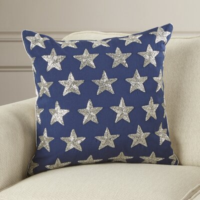 Evergreen Beaded Stars Duck Cotton Throw Pillow